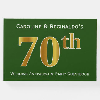 Green, Faux Gold 70th Wedding Anniversary Party Guest Book