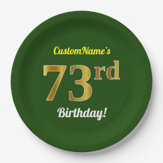 Green, Faux Gold 73rd Birthday + Custom Name Paper Plate