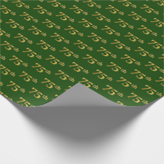 Green, Faux Gold 75th (Seventy-Fifth) Event Wrapping Paper
