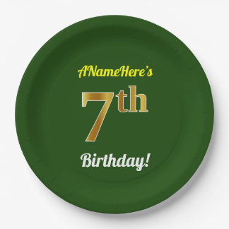 Green, Faux Gold 7th Birthday + Custom Name Paper Plate