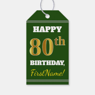 Green, Faux Gold 80th Birthday + Custom Name Gift Tags