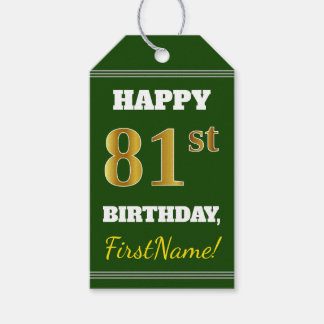Green, Faux Gold 81st Birthday + Custom Name Gift Tags