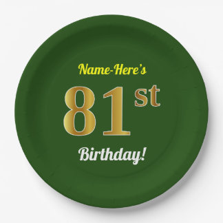 Green, Faux Gold 81st Birthday + Custom Name Paper Plate