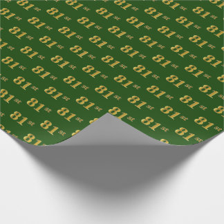 Green, Faux Gold 81st (Eighty-First) Event Wrapping Paper
