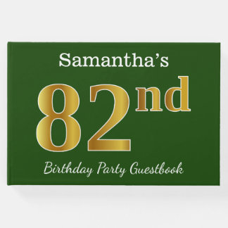 Green, Faux Gold 82nd Birthday Party + Custom Name Guest Book