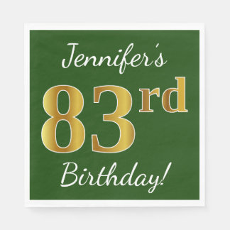 Green, Faux Gold 83rd Birthday + Custom Name Disposable Napkins