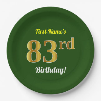 Green, Faux Gold 83rd Birthday + Custom Name Paper Plate