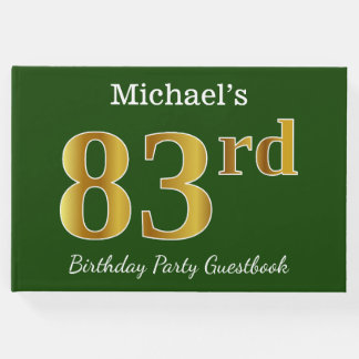 Green, Faux Gold 83rd Birthday Party + Custom Name Guest Book