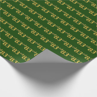 Green, Faux Gold 83rd (Eighty-Third) Event Wrapping Paper