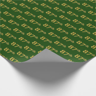 Green, Faux Gold 87th (Eighty-Seventh) Event Wrapping Paper