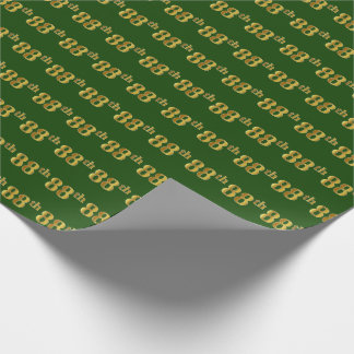 Green, Faux Gold 88th (Eighty-Eighth) Event Wrapping Paper