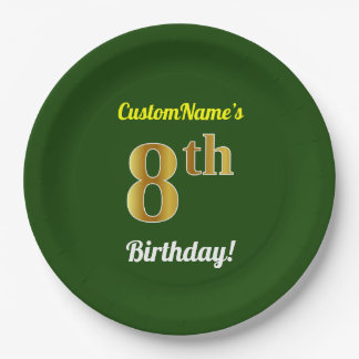 Green, Faux Gold 8th Birthday + Custom Name Paper Plate