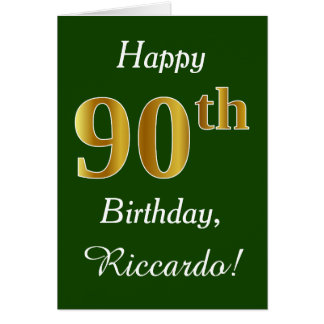 Green, Faux Gold 90th Birthday + Custom Name Card