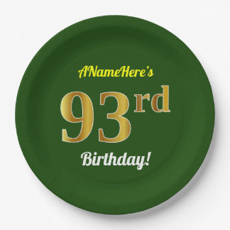Green, Faux Gold 93rd Birthday + Custom Name Paper Plate