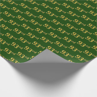 Green, Faux Gold 93rd (Ninety-Third) Event Wrapping Paper