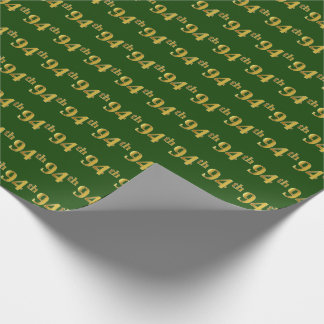 Green, Faux Gold 94th (Ninety-Fourth) Event Wrapping Paper
