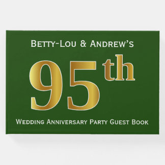 Green, Faux Gold 95th Wedding Anniversary Party Guest Book