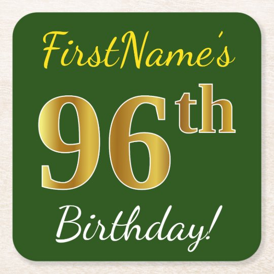 Green, Faux Gold 96th Birthday + Custom Name Square Paper Coaster