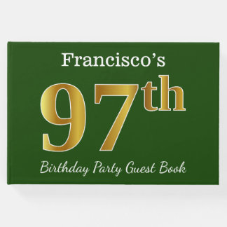Green, Faux Gold 97th Birthday Party + Custom Name Guest Book