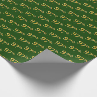 Green, Faux Gold 97th (Ninety-Seventh) Event Wrapping Paper