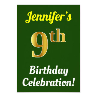 Green, Faux Gold 9th Birthday Celebration + Name Card