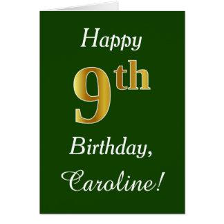 Green, Faux Gold 9th Birthday + Custom Name Card