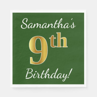 Green, Faux Gold 9th Birthday + Custom Name Disposable Napkins