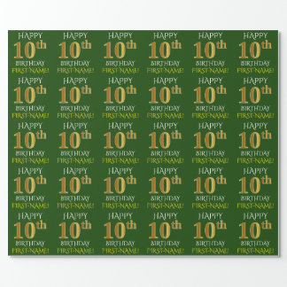 "Green, Faux Gold ""HAPPY 10th BIRTHDAY"" Wrapping Paper"