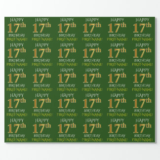 "Green, Faux Gold ""HAPPY 17th BIRTHDAY"" Wrapping Paper"