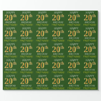 """Green, Faux Gold """"HAPPY 20th BIRTHDAY"""" Wrapping Paper"""