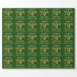 """Green, Faux Gold """"HAPPY 70th BIRTHDAY"""" Wrapping Paper"""