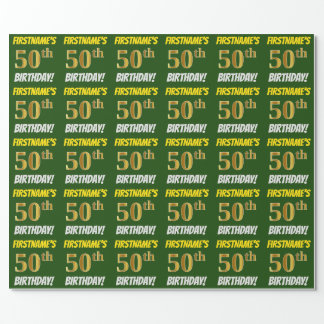 """Green, Faux/Imitation Gold, """"50th BIRTHDAY"""" Wrapping Paper"""