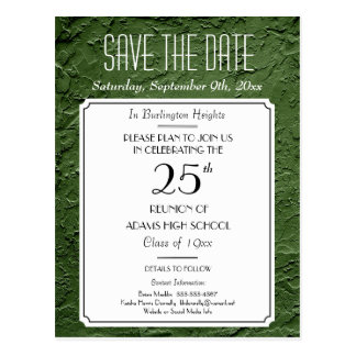 Green Faux Textured Party or Reunion Save the Date Postcard
