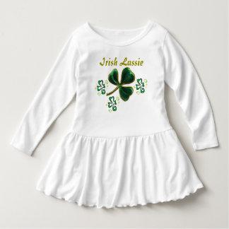 Green Faux Velvet Clover Irish Lassie Dress