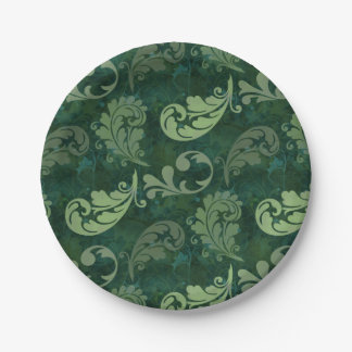 Green, Feather, Quill, Feathers, Elegant, Lush Paper Plate