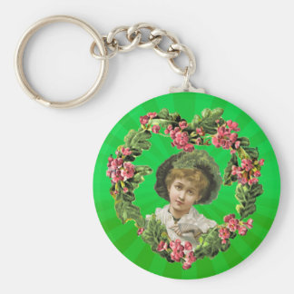 GREEN FEATHERS  GIRL & LIGHT RAYS by SHARON SHARPE Basic Round Button Key Ring