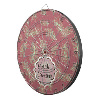 Green Feathers Red Holiday Christmas Dartboard