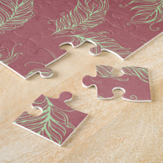 Green Feathers Red Holiday Christmas Jigsaw Puzzle