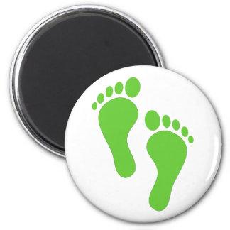 Green feet design illustration fridge magnet