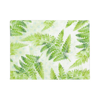 Green Fern Beautiful Spring Summer Leaves Doormat