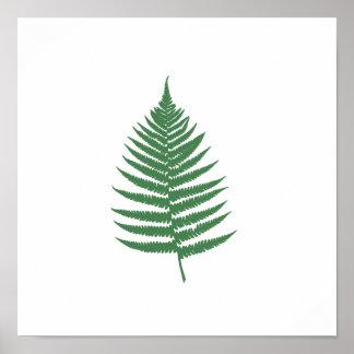 Green Fern Leaf Minimalism Square Wall Poster