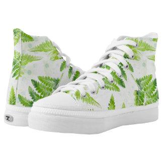 Green Fern Leaves Modern Botanical Watercolor High Tops