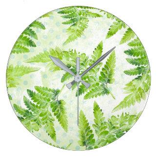 Green Fern Leaves Modern Botanical Watercolor Large Clock