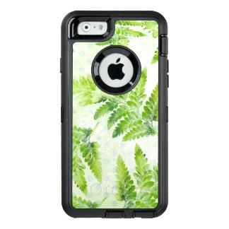 Green Fern Leaves Modern Botanical Watercolor OtterBox Defender iPhone Case