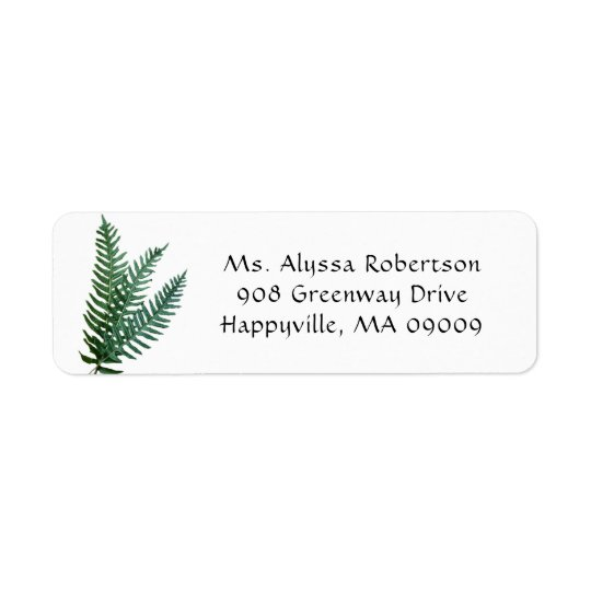 Green Fern Leaves Nature Themed Return Address Return Address Label