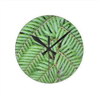 Green fern New Zealand Round Clock
