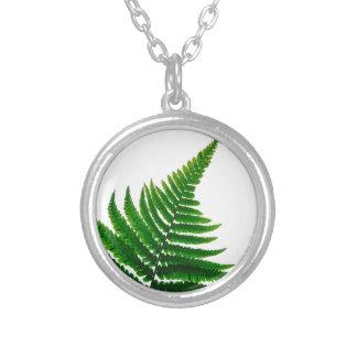 Green Fern prints Woodlands Leaf Silver Plated Necklace
