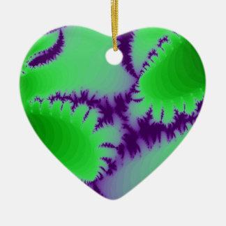 Green Fern Purple Backdrop Ceramic Heart Decoration