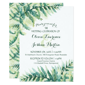 Green Fern Watercolor Wedding Invitation