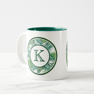 Green Ferns Monogram Two-Tone Coffee Mug